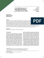 Analyzing Long-run Performance of Select Initial Public Offerings Using Monthly Returns Evidence From India Gautam Das Malayendu Saha Abhijit Kundu
