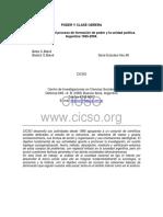 Poder y Clase Obrera. La Relación Entre El Proceso de Formación de Poder y La Unidad Política. Argentina 1955 2004. Beba C. Balvé y Beatriz S. Balvé