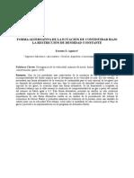 Forma Alternativa de La Ecuacion de Continuidad Bajo La Restriccion de Densidad Constante