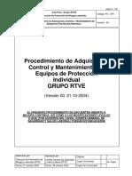 Procedimientos de adq control y mantenimiento de equipos de proteccion individual