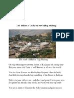 The Sultan of Kaliyan Hadrat  Bawa Haji Malang