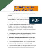 1. How to Write AnA Summary Ofatext