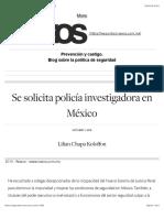 Se solicita policía investigadora en México | Seguridad