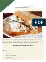 Sanduíche de Frango Com Ricota