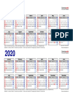 Two Year Calendar 2019 2020 Landscape 2 Rows