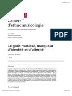 Le goût musical, marqueur d'identité et d'altérité - Laurent Aubert