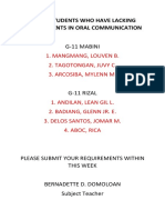 List of Students Who Have Lacking Requirements in Oral Communication