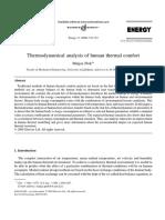 thermodynamical analysis of human thermal comfort
