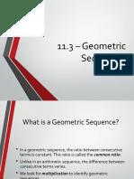 11.3 Geometric Sequences