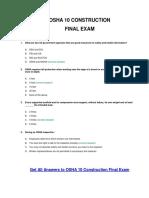 OSHA 10 Construction Final Exam Answer Key