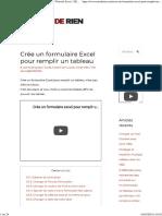 Crée Un Formulaire Excel Pour Remplir Un Tableau _ Tutoriel Excel - De RIEN