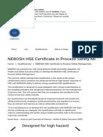 NEBOSH HSE Certificate in Process Safety Management - NEBOSH