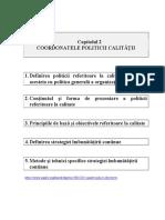 Coordonatele politicii calității