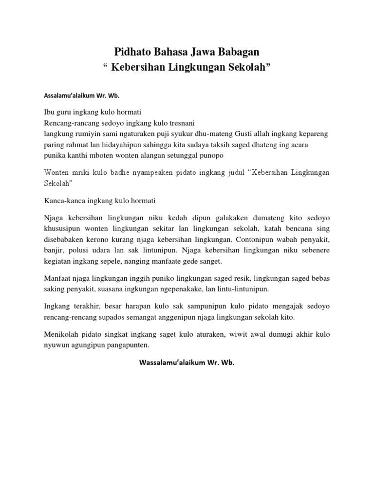 Pidhato Bahasa Jawa Babagan Lingkungan Sekolah
