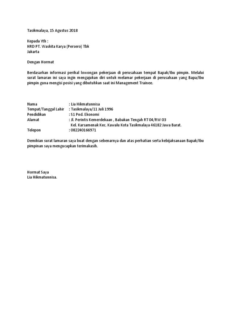 59 Contoh Surat Lamaran Kerja Di Pt Waskita Karya