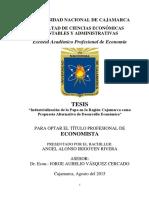 Industrialización de la Papa en La Región Cajamarca Como Alternativa de Desarrollo Económico