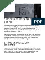 4 Princípios Para Cuidar Dos Pobres