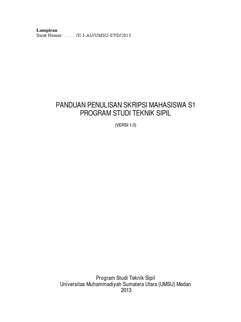 Panduan Penulisan Skripsi S1 Teknik Sipil Umsu Pdf
