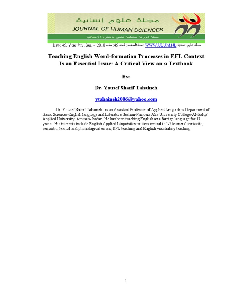The Word Formation Processes In Linguistics {Forum Aden}