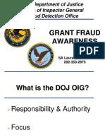 DOJ - Inspector General - Grant Fraud Awareness