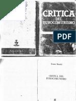 Mandel, Ernest - Crítica Del Eurocomunismo