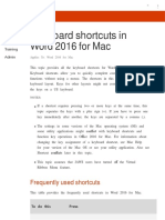 Keyboard Shortcuts in Word 2016 for Mac - Word for Mac