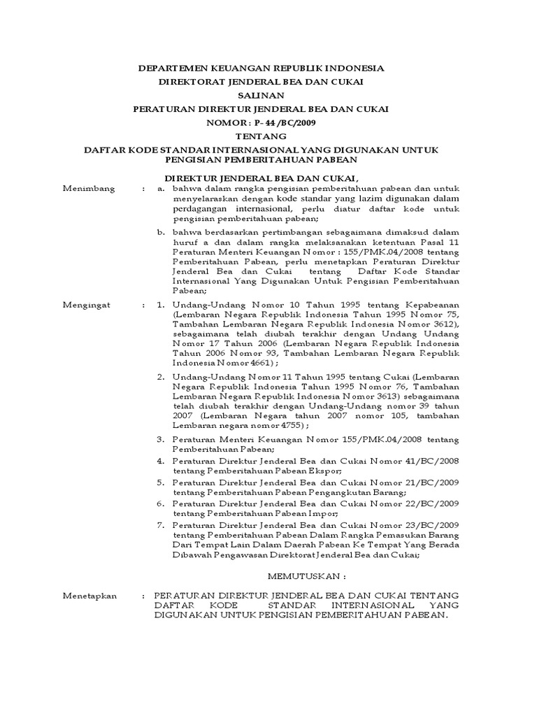 Perdirjen Bea Cukai P 44 Bc 2009 Kode Pelabuhan Pdf Liter Galon