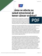 Cómo se afecta su salud emocional al tener cáncer ovárico