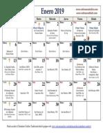 Calendario Litúrgico Tradicional Enero 2019