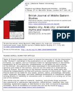 Islamic city, Arab city- orientalist myths and recent views André Raymond