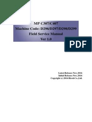 Ricoh mpc307 407 service manual | Microsoft Windows | Image