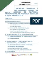 Tema 18 Matrices. Matrices y Aplicaciones Lineales. Cambio de Base. Algebra de Matrices