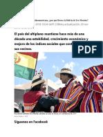 En Medio de La Crisis Latinoamericana, Por Qué Florece La Bolivia de Evo Morales