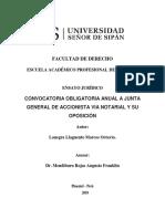 CONVOCATORIA OBLIGATORIA ANUAL A JUNTA GENERAL DE ACCIONISTA VÍA NOTARIAL Y SU OPOSICIÓN - MARCOS LANEGRA
