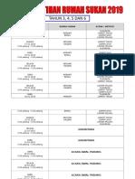 Jadual Latihan Rumah Sukan 2019