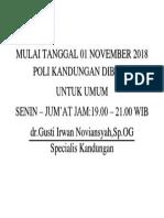 Mulai Tanggal 01 November 2018 Poli Kandungan Dibuka
