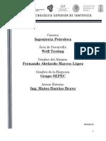 reporte instrumentacion well testing