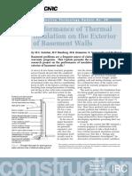 Performance of External Basement Insulation