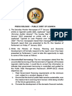 Press Release – Public Debt of Uganda