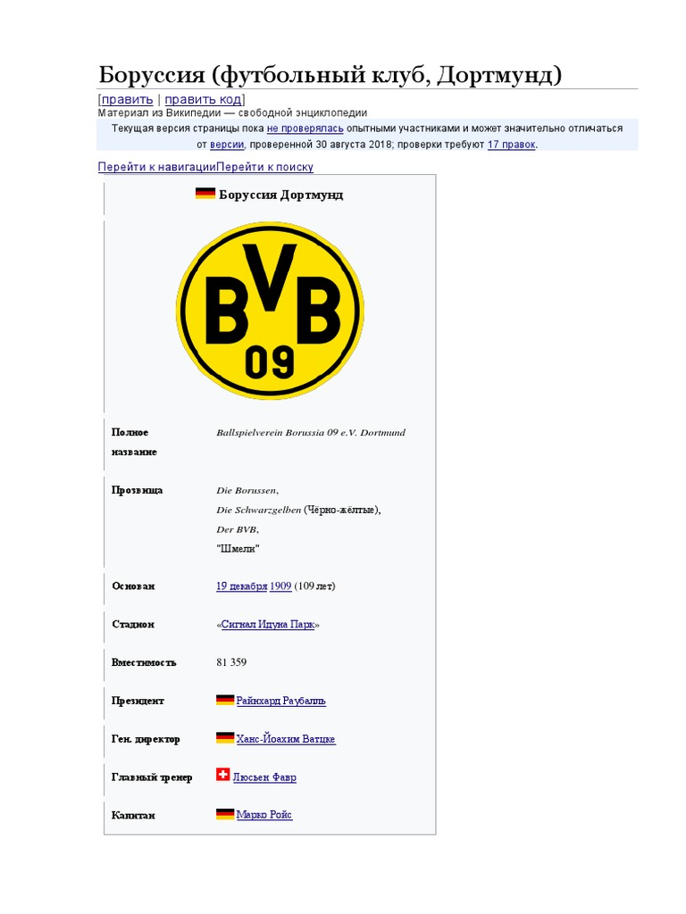 Боруссия дортмунд футбольный клуб википедия
