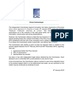 communiqué émis par l'ICAC ce mardi 8 janvier concernant le cas Medpoint.