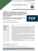 Verificación e implantación en un laboratorio de urgencias de un sistema de medición de los índices séricos (hemólisis, ictericia y lipidemia) en un Dimension® EXLTM
