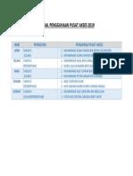 Jadual Penggunaan Pusat Akses 2019