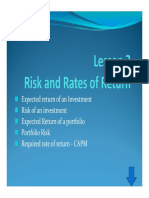 Risk and Rate of Returns
