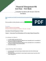 International Financial Management 8th Edition by Cheol Eun – Test Bank