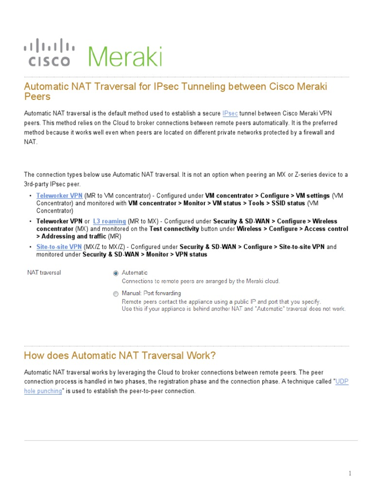 Automatic NAT Traversal for IPsec Tunneling Between Cisco
