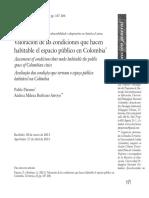 Valoración de Las Condiciones Que Hacen Habitable El Espacio Público en Colombia