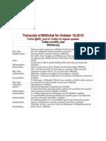 MDchat Transcript October 19, 2010