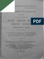 Field Service Manual, 1913. Signal Service - Signal Company (Cable)