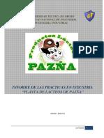 Informe Planta de Lacteos